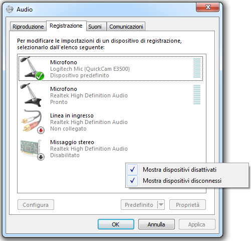 missaggio stereo windows 7