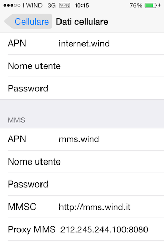 Wind Configurazione apn Apple Iphone 6S Plus